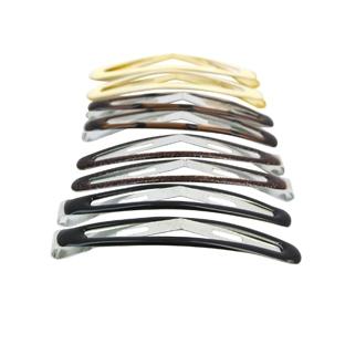 Lot de 8 barrettes clic-clac Noires Brunes et Crème
