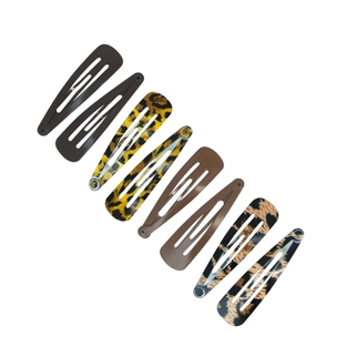 Lot de 8 barrettes clic-clac Motif Animal Brun