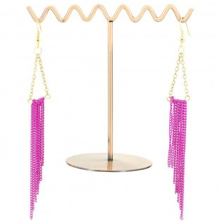 Pendants d'oreilles Fuchsia & Or