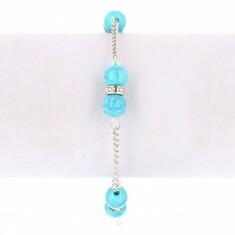 Bracelet Chaîne Argenté Strass & Perles Bleu