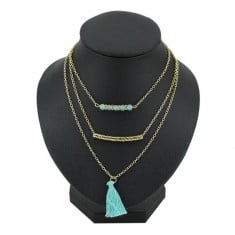 Collier Sautoir Pompon à triple rangs Or & Turquoise