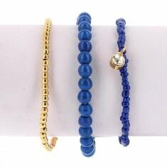 Lot de 3 Bracelets Elastiques Perles Bleu et Or Breloque en Strass