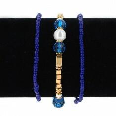 Lot de 3 Bracelets Elastiques Perles Bleu et Or