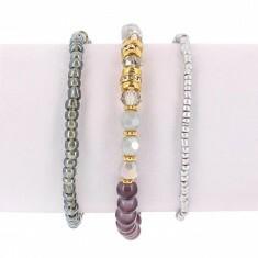 Lot de 3 Bracelets Elastiques Perles Grises