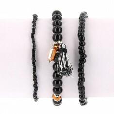 Lot de 3 Bracelets Perles Noir