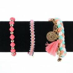 Lot de 3 Bracelets Tressés et Perlés Rose