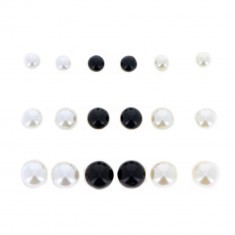 Lot de 9 puces d'Oreilles Perles Blanches et Noires